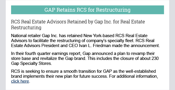 GAP Retains RCS for Restructuring