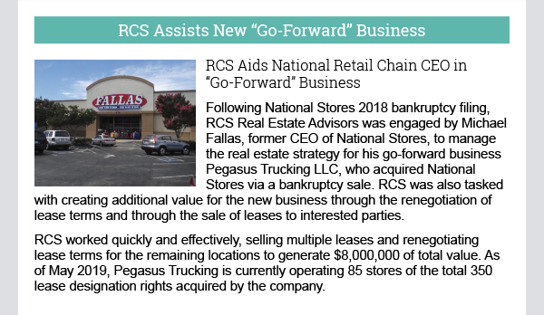 RCS Assists New Go Forward Business
